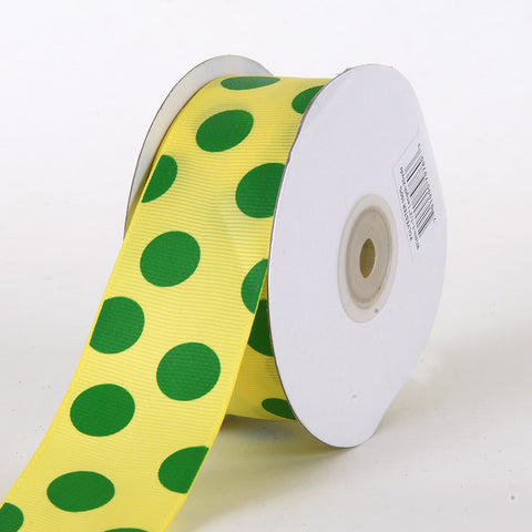 Grosgrain Ribbon Jumbo Dots Canary with Emerald Dots ( W: 1-1/2 inch | L: 25 Yards ) -