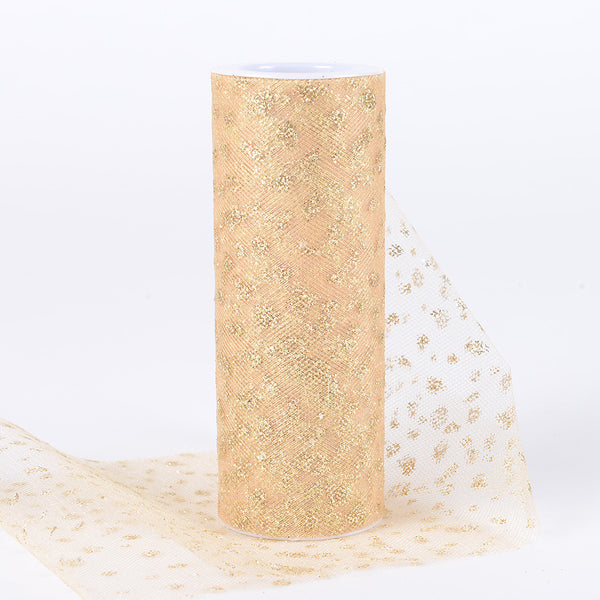 6 Inch x 10 Yards Sparkle Dot Tulle Gold ( W: 6 inch | L: 10 yards )