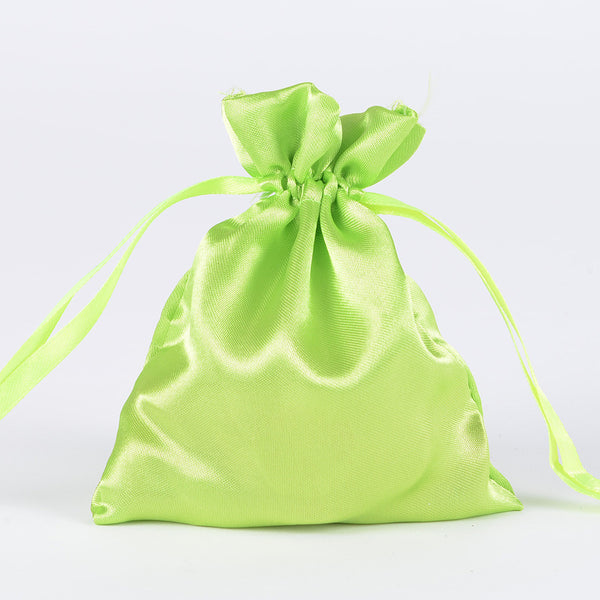 Satin Bags Apple Green ( 3x4 Inch - 10 Bags )