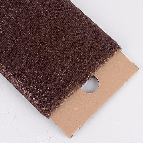 Brown Premium Glitter Tulle Fabric ( W: 6 inch | L: 25 Yards )
