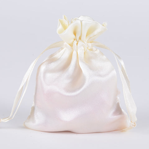 Satin Bags Ivory ( 4.5x5.5 Inch - 10 Bags ) -