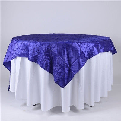 Purple  85 inch x 85 inch Square Pintuck Satin Overlay