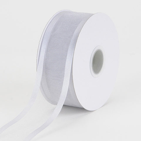Organza Ribbon Two Striped Satin Edge Silver ( 1-1/2 inch | 25 Yards ) -