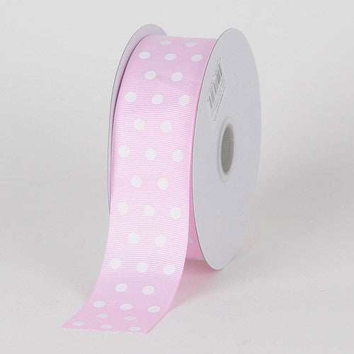 Grosgrain Ribbon Color Dots Light Pink With White Dots ( W: 5/8 inch | L: 25 Yards )
