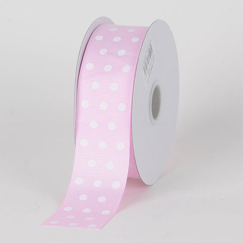 Grosgrain Ribbon Color Dots Light Pink With White Dots ( W: 5/8 inch | L: 25 Yards ) -