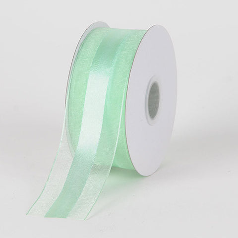 Organza Ribbon Satin Center Mint ( W: 5/8 inch | L: 25 Yards ) -