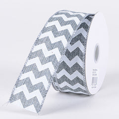 Chevron Canvas Wired Edge Silver ( W: 1-1/2 inch | L: 10 Yards )