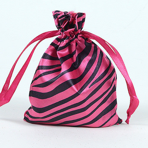 Animal Print Satin Bags Hot Pink ( 4x5 Inch - 10 Bags )