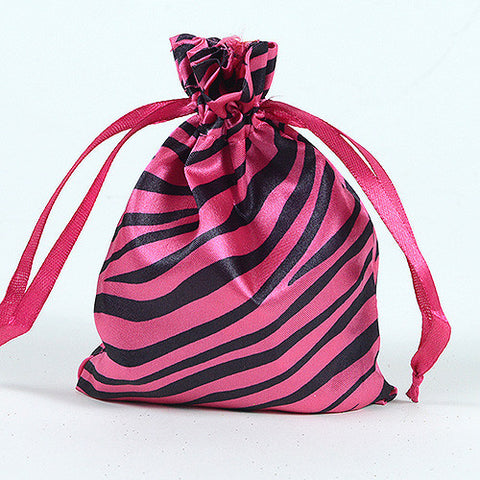 Animal Print Satin Bags Hot Pink ( 3x4 Inch - 10 Bags ) - Ribbons Cheap