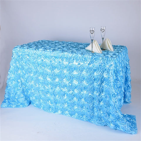 Light Blue 90 Inch x 132 Inch Rosette Tablecloths- Ribbons Cheap