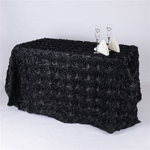 Black 90 Inch x 156  Inch Rectangle Rosette Tablecloths