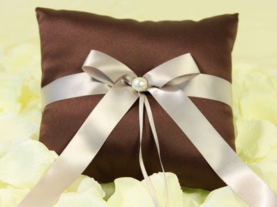 Ring Bearer Pillow Chocolate Brown ( 7 X 7 Inches ) -