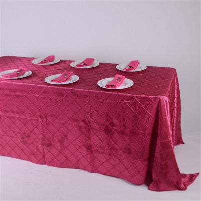 Fuchsia  90 inch x 132 inch Pintuck Satin Tablecloth