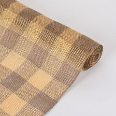 Faux Burlap Plaid Mesh Gold ( 21 inch x 5 Yards )