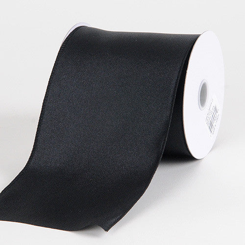 Satin Ribbon 4 Inch Double Faced Wired Black ( W: 4 inch | L: 10 Yards )