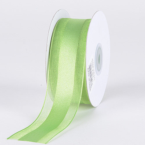 Organza Ribbon Satin Center Apple Green ( W: 5/8 inch | L: 25 Yards )