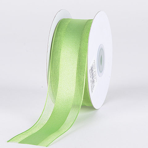 Organza Ribbon Satin Center Apple Green ( W: 5/8 inch | L: 25 Yards ) -