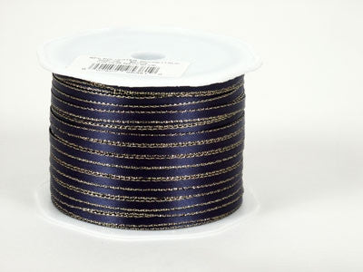 Satin Ribbon with Gold Edge 1/8 Inch Navy Blue with Gold Edge ( W: 1/8 inch | L: 100 Yards )