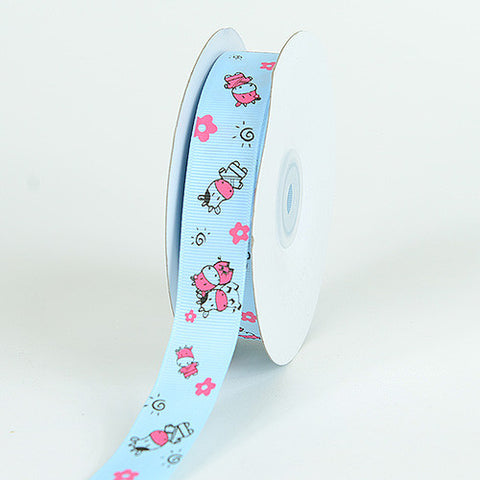 Grosgrain Ribbon MooMoo Cow Print Light Blue ( W: 5/8 inch | L: 25 Yards ) -