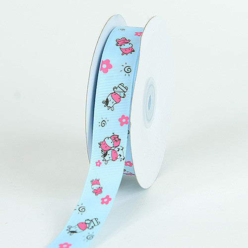 Grosgrain Ribbon MooMoo Cow Print Light Blue ( 7/8 inch | 25 Yards )