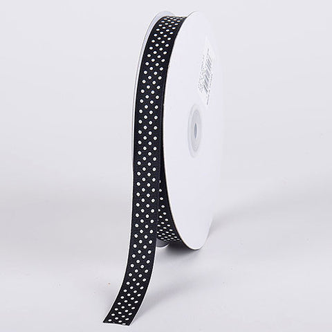 Grosgrain Ribbon Swiss Dot Black with White Dots ( W: 3/8 inch | L: 50 Yards ) -