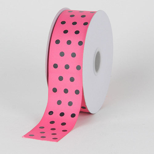 Grosgrain Ribbon Color Dots Shocking Pink with Black Dots ( W: 5/8 inch | L: 25 Yards )