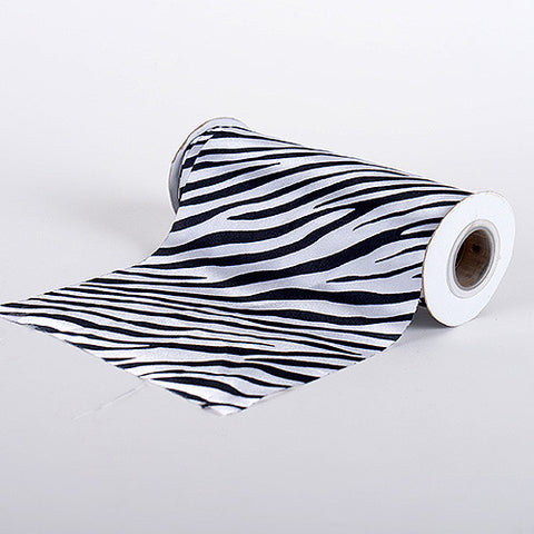 Animal Printed Satin Spool White ( W: 6 inch | L: 10 Yards ) - Ribbons Cheap