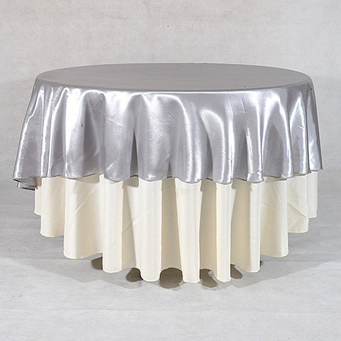 Silver  108 Inch Satin Round Tablecloths