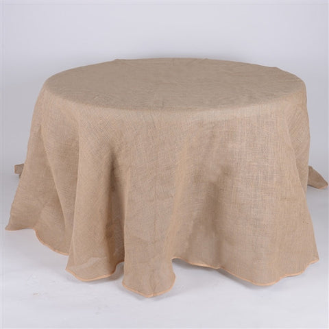 120 Inch Fine Rustic Jute Burlap Round Tablecloths- Ribbons Cheap