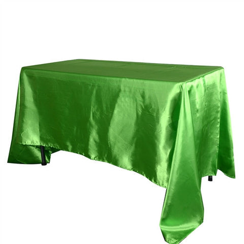 Apple Green 90 Inch x 132 Inch Rectangular Satin Tablecloths- Ribbons Cheap