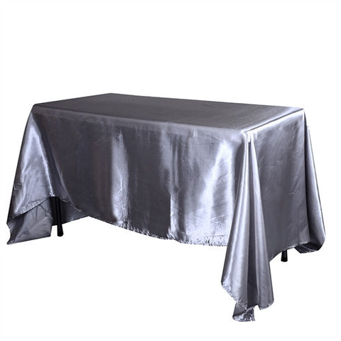 Silver 90 Inch x 132 Inch Rectangular Satin Tablecloths