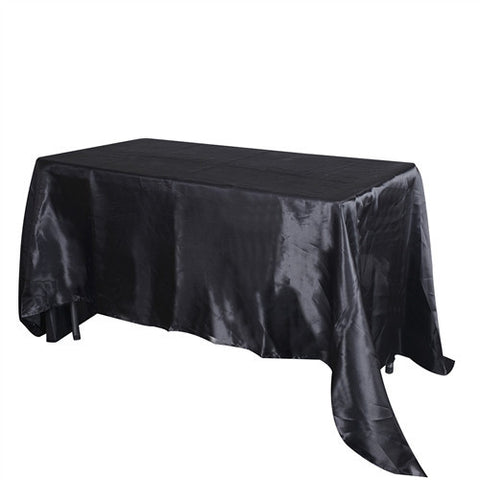 Black 90 Inch x 132 Inch Rectangular Satin Tablecloths