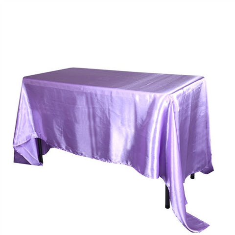 Lavender 90 Inch x 132 Inch Rectangular Satin Tablecloths