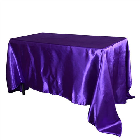 Purple 90 Inch x 156 Inch Rectangular Satin Tablecloths- Ribbons Cheap