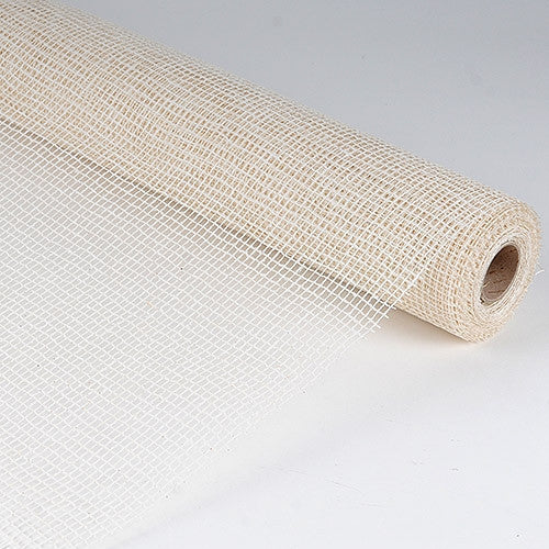Natural Cotton Jute White ( 21 Inch x 6 Yards )