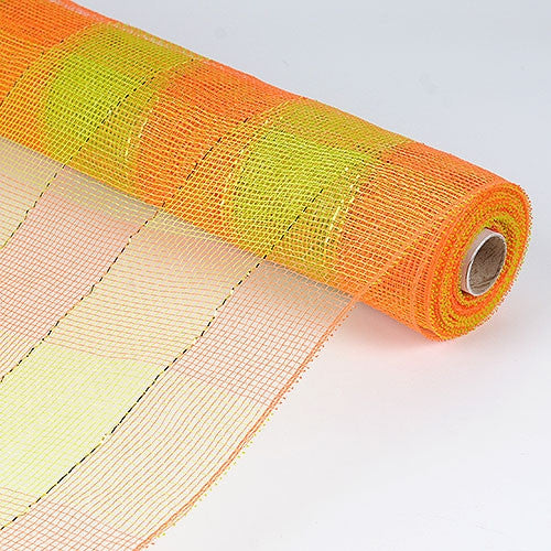 Floral Mesh Wrap Two Color Design Orange Green ( 21 Inch x 10 Yards )