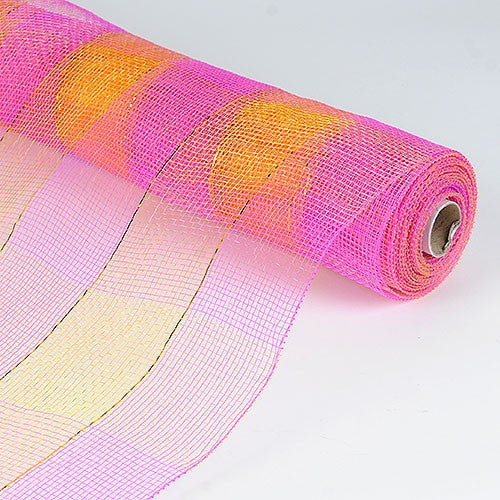 Floral Mesh Wrap Two Color Design fuchsia and yellow ( 21 Inch x 10 Yards )