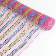 Multicolor Metallic Deco Mesh Wrap Fuchsia with Turquoise ( 21 Inch x 10 Yards )