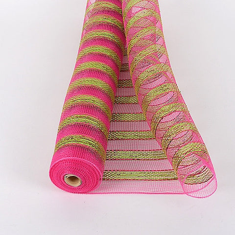 Multicolor Metallic Deco Mesh Wrap Fuchsia Green ( 21 Inch x 10 Yards )