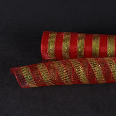 Multicolor Metallic Deco Mesh Wrap Red with Apple Green Lines ( 21 Inch x 10 Yards )