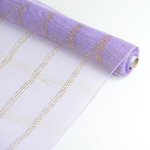 Metallic Gold Chex Design Lavender