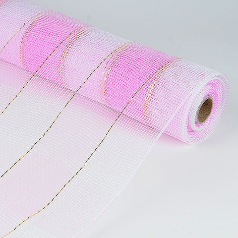 Christmas Mesh Wraps Pink White ( 21 Inch x 10 Yards )
