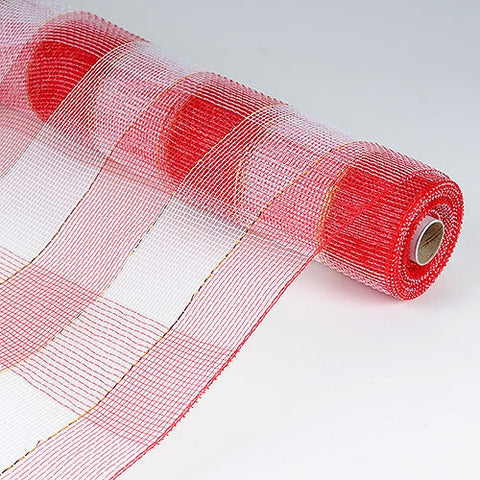Christmas Mesh Wraps Red White ( 21 Inch x 10 Yards )