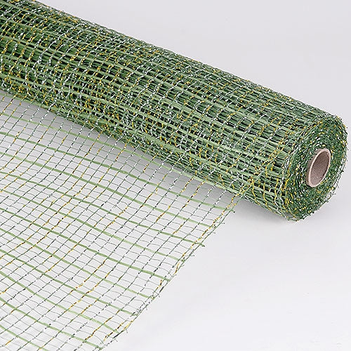 Floral Oasis Mesh Wrap Moss with Gold ( 21 Inch x 10 Yards )