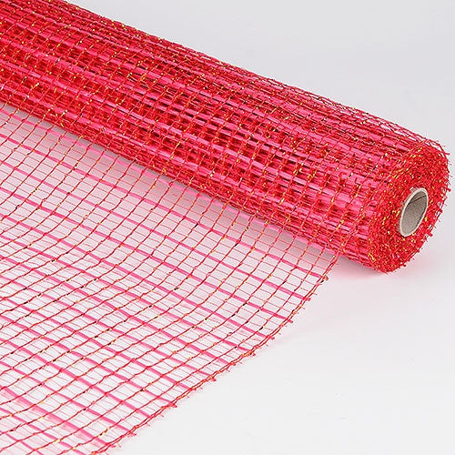 Floral Oasis Mesh Wrap Red Gold ( 21 Inch x 10 Yards )