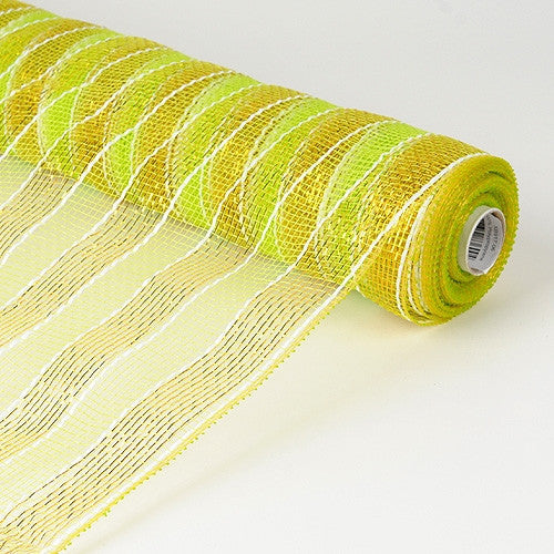 Poly Deco Mesh Wrap with Laser Mono Stripe Apple Green with Gold ( 21 Inch x 10 Yards )