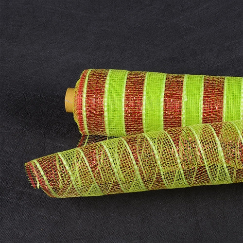 Poly Deco Mesh Wrap with Laser Mono Stripe Apple Green with Red Lines ( 21 Inch x 10 Yards )