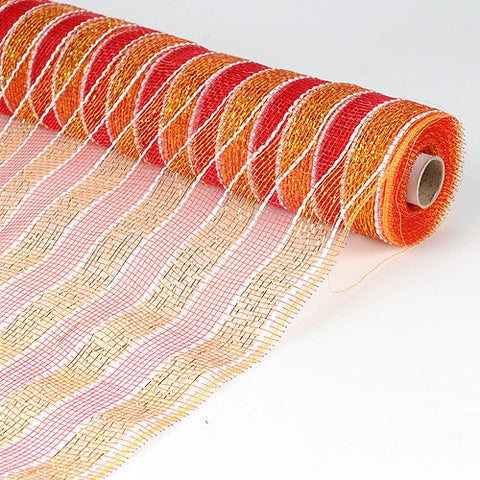 Poly Deco Mesh Wrap with Laser Mono Stripe Red with Gold ( 21 Inch x 10 Yards )