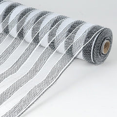 Poly Deco Mesh Wrap with Laser Mono Stripe Black White ( 21 Inch x 10 Yards )