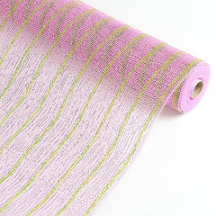Holiday Floral Mesh Wraps Pink ( 21 Inch x 10 Yards )
